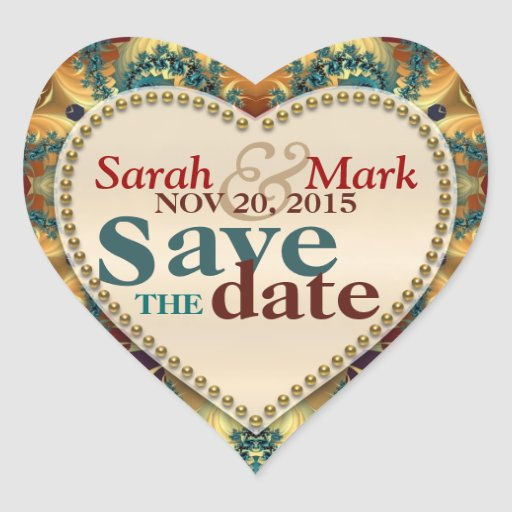 Gold Teal Fractals Save the Date Love Sticker