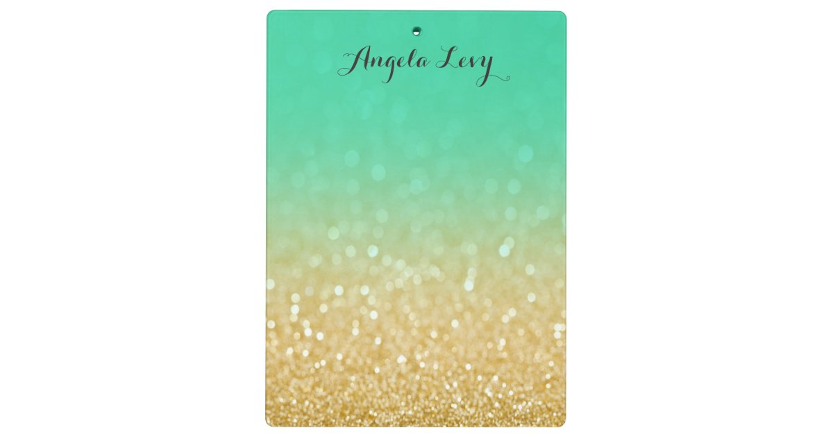 Gold Amp Teal Ombre Glitter Personalized Clip Board Zazzle Com