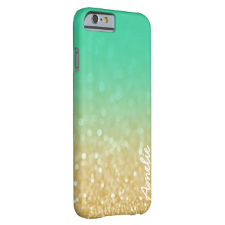 Gold Teal Ombre Glitter Personalized Name Iphone 6 Barely There iPhone 6 Case
