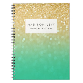 Gold Teal Ombre Glitter Personalized Notebook