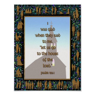 Gold Teal People Mosaic Psalm 122:1 Church Poster
