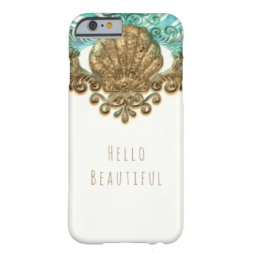 Beach Themed Gold & Teal Sea Shell Glam Beach Elegant Custom Barely There iPhone 6 Case