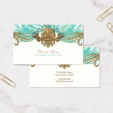 Beach Themed Gold & Teal Sea Shell Glam Beach Elegant Custom Business Card