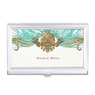 Beach Themed Gold & Teal Sea Shell Glam Beach Elegant Custom Business Card Case