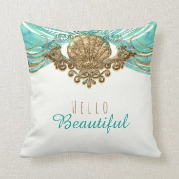Beach Themed Gold & Teal Sea Shell Glam Beach Elegant Custom Throw Pillow