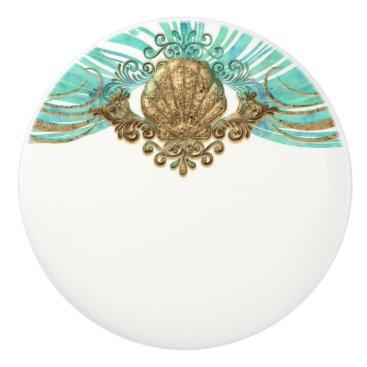 Beach Themed Gold & Teal Sea Shell Glam Beach Elegant Decor Ceramic Knob