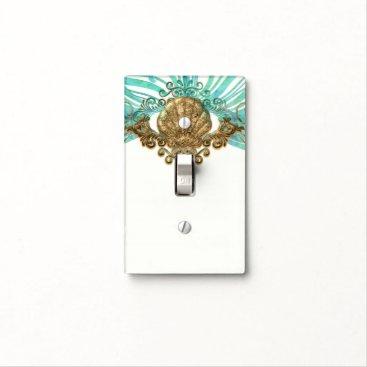 Beach Themed Gold & Teal Sea Shell Glam Beach Elegant Decor Light Switch Cover