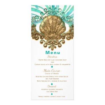Beach Themed Gold & Teal Sea Shell Glam Beach Elegant Menu Card