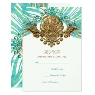 Beach Themed Gold & Teal Sea Shell Glam Beach Elegant RSVP Card
