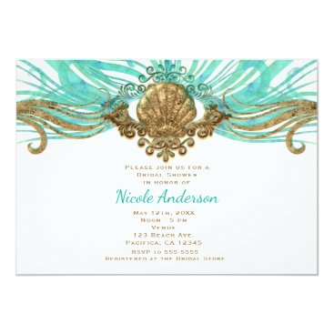 Beach Themed Gold & Teal Sea Shell Glam Beach Party Invitations