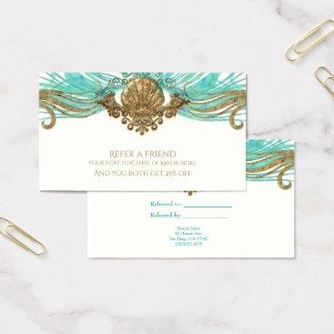 Beach Themed Gold & Teal Sea Shell Glam Beach Refer a Friend Business Card