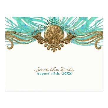 Beach Themed Gold & Teal Sea Shell Glam Beach Save the Date Postcard