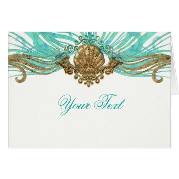Beach Themed Gold & Teal Sea Shell Glam Beach Thank You Fold Card