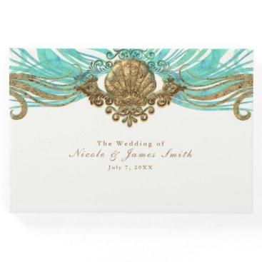 Beach Themed Gold & Teal Sea Shell Glam Beach Wedding Elegant Guest Book