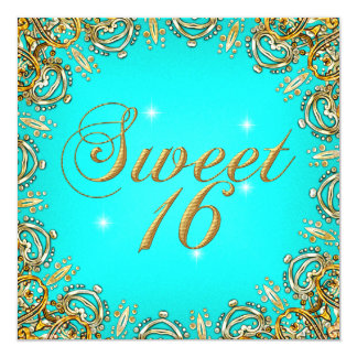 Gold Teal Sweet Sixteen Sweet 16 Party Image 5.25x5.25 Square Paper Invitation Card
