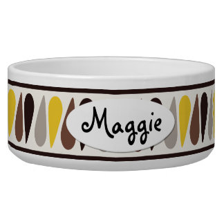 Gold Teardrop Personalized Ceramic Dog Bowl
