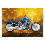 Gold Tech Background with Blue Bike Greeting Cards