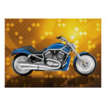 Gold Tech Background with Blue Bike Print