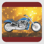 Gold Tech Background with Blue Bike Square Sticker