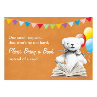 Gold Teddy Bear Book Request Baby Shower Insert Large Business Cards (Pack Of 100)