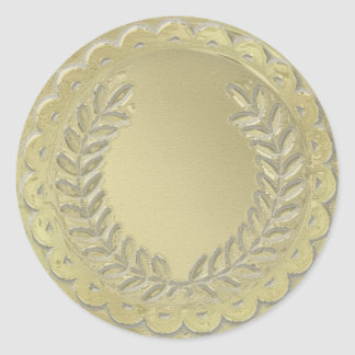 Gold Template Customize Laurel Wreath Classic Round Sticker