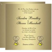 Gold Tennis Wedding Invitations