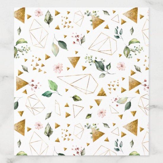 Gold Terrarium Peach Pink Green Floral Envelope Liner