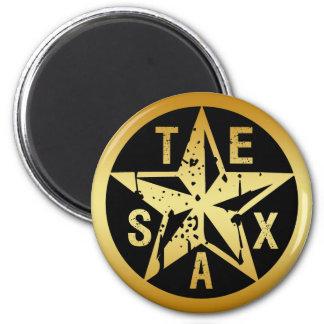 GOLD TEXAS STAR 2 INCH ROUND MAGNET