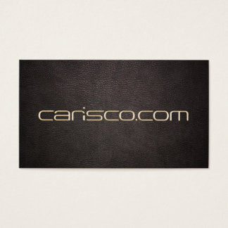 Gold Text Dark Leather Fine Handmade Accessories Business Card