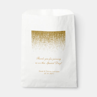 Gold Texture Confetti Wedding Shower | Personalize Favor Bag