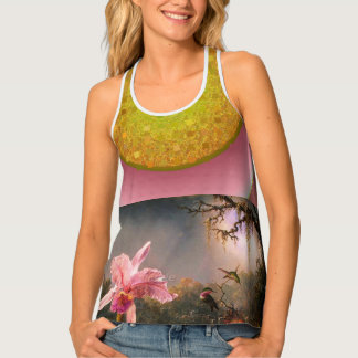 Gold texture Purple Orchid All-Over Print Tank Top