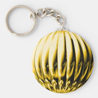 Gold textured ball basic round button keychain