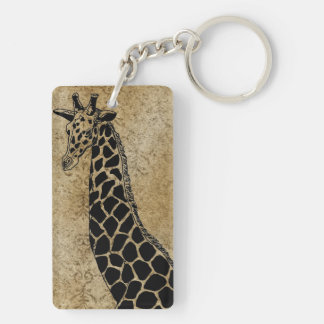 Gold Textured Giraffe II~ Key Chain Double Sided