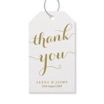 Gold Thank You Cute Modern Calligraphy Party Favor Gift Tags