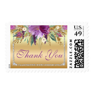 Gold Thank You Diamond Watercolor Flowers Postage