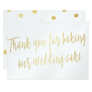 "Gold ""Thank you for baking our wedding cake"" Card"