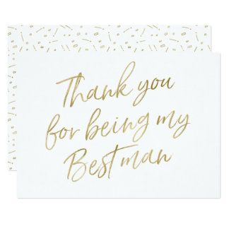 """Gold """"Thank you for being my best man"""" Card"""