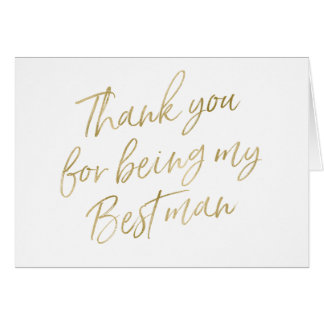 """Gold """"Thank you for my being best man"""" Card"""
