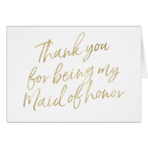 "Gold ""Thank you for my being my maid of honor"""