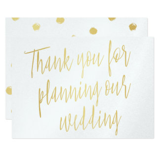 "Gold ""Thank you for planning our wedding"" Card"