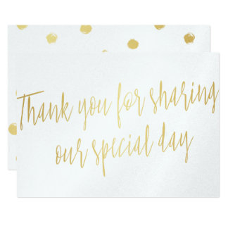 "Gold ""Thank you for sharing our special day"" Card"