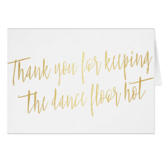 """Gold """"Thank you"""" for Wedding Band, musician or DJ Card"""