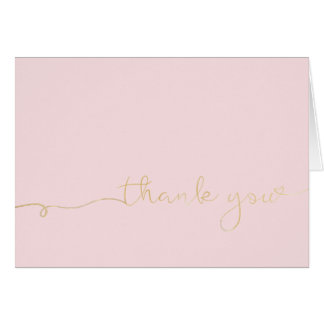 Gold Thank You On Pink Card