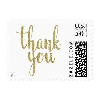 Gold thank you stamps, glitter, small postage