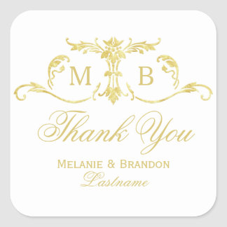 Gold Thank You Stickers gold monogram wedding Square Sticker