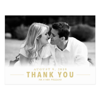 Gold Thank You Wedding Custom Photo Postcard