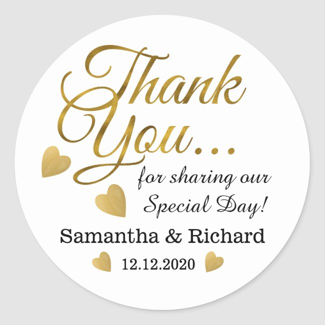 Gold Thank You Wedding Favor Classic Round Sticker