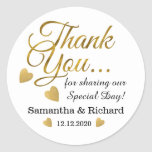 "Gold Thank You Wedding Favor Classic Round Sticker<br><div class=""desc"">Elegant and stylish wedding stickers with gold thank you typography and golden hearts.Personalize with bride and groom names and wedding date.</div>"