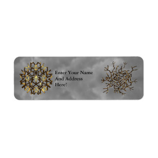 Gold Themed Snow Flakes Label
