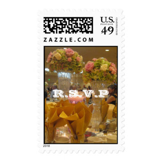 Gold Themed Wedding R.S.V.P Postage